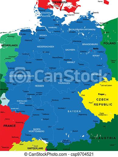 Un mapa político de Alemania - csp9704521