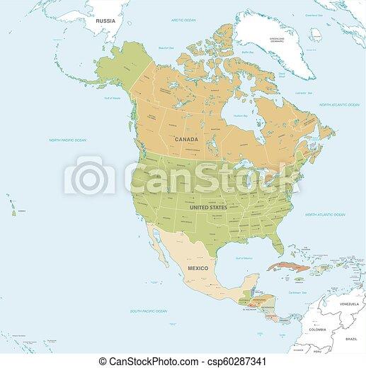 Mapa vector del norte y América Central - csp60287341