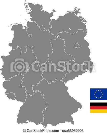 El mapa político del vector gris de Alemania - csp58939908