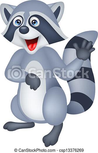 Lindos mapaches con la mano - csp13376269
