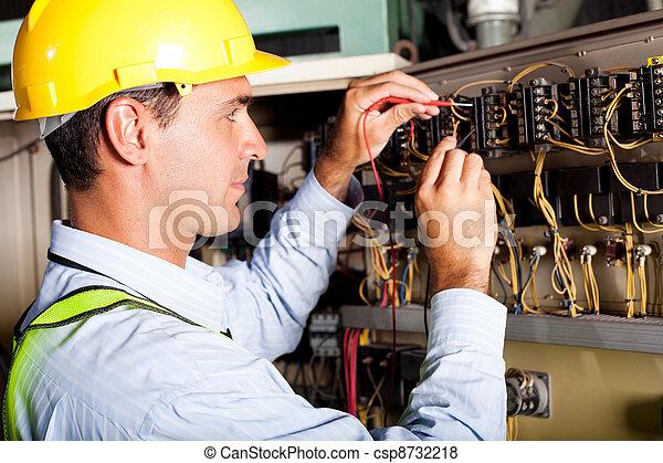 Maquina eléctrica masculina que prueba la industria - csp8732218