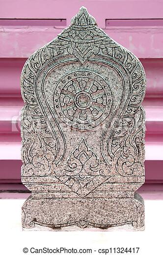 Marca de la frontera de piedra del templo - csp11324417