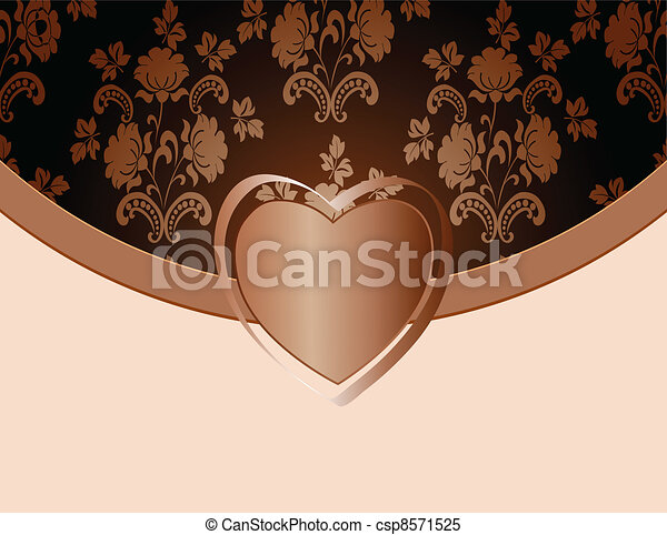 Un marco de vintage en el fondo floral - csp8571525