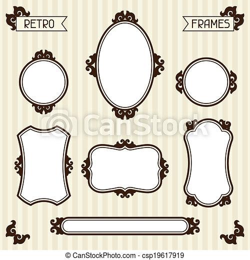 Colección de marcos antiguos al estilo retro. - csp19617919