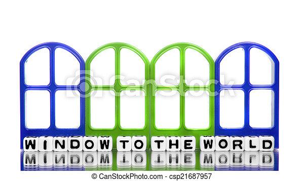 Ventana al mundo con marcos - csp21687957