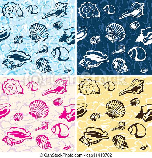 Trasfondo de conchas marinas, Marin - csp11413702