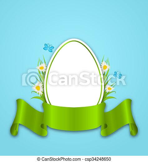 Huevo de papel de Pascua con flores margaritas, hierba, mariposa y cinta, copia espacio para tu texto - csp34248650