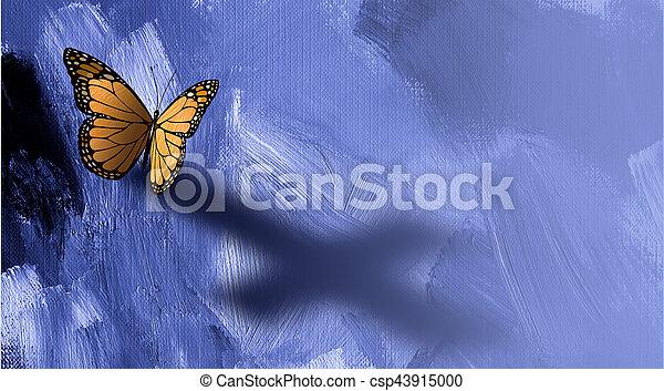 Mariposa gráfica con sombra de cruz de Jesús - csp43915000