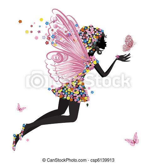 El hada de las flores con mariposa - csp6139913