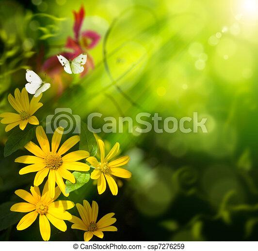 Extractos estudios de verano. Flor y mariposa - csp7276259