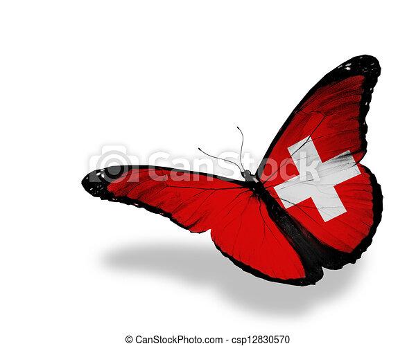 Una mariposa de bandera suiza volando, aislada de fondo blanco - csp12830570