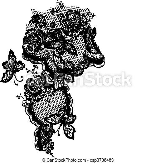 Mariposa y encaje de rosas - csp3738483