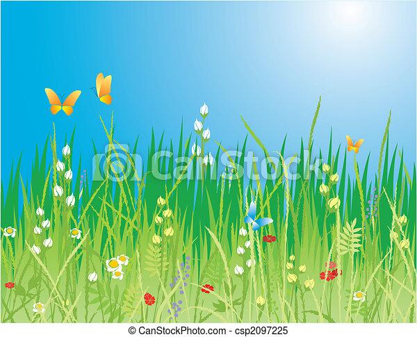 Profundidad de primavera. Flores, mariposas y hierba - csp2097225