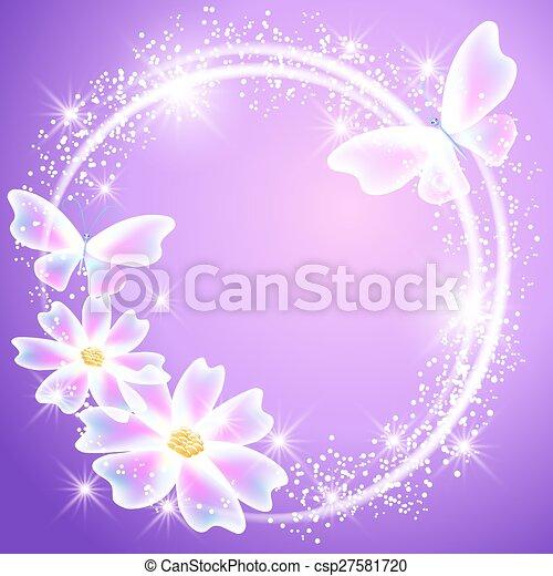 Mariposas transparentes, flores y estrellas brillantes - csp27581720