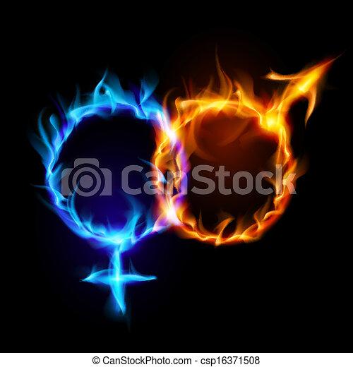 Marte y Venus símbolos de fuego. - csp16371508