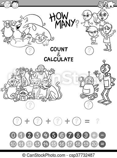 Los chicos de matemáticas en la página de coloración - csp37732487