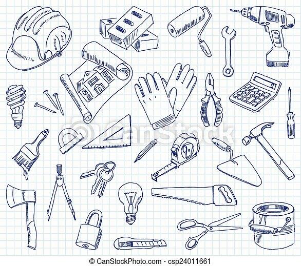 Materiales de construcción a mano libre - csp24011661