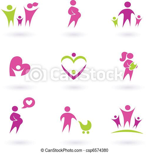 Maternidad, embarazo y salud, aislados en blanco, rosado, - csp6574380