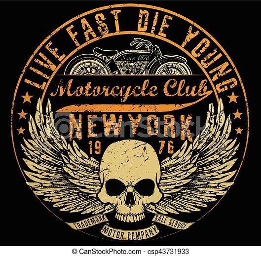 Mecanografía de motocicleta, gráficos de camisetas, vectores - csp43731933
