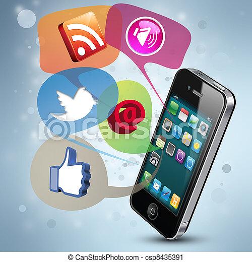 Medias sociales - csp8435391
