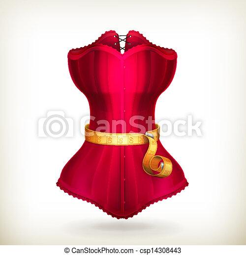 Medición de cinta y vestido rojo, vector - csp14308443