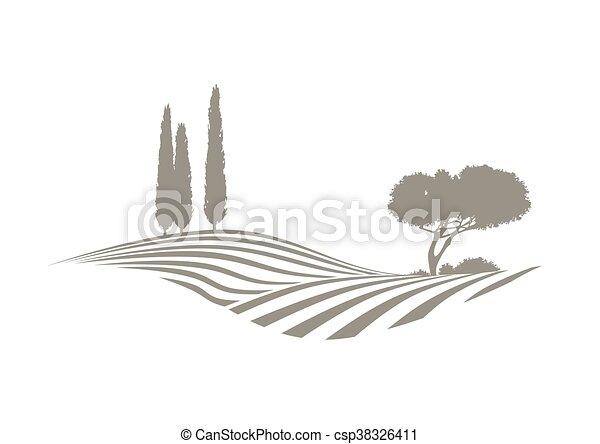 Paisaje vectorial mediterráneo - csp38326411