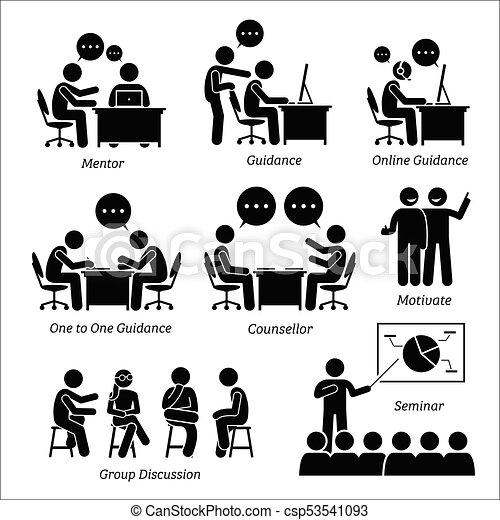 Mentor guía entrenador para ejecutivo de negocios. - csp53541093