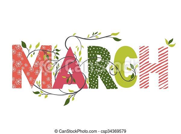Nombre del mes de marzo. - csp34369579