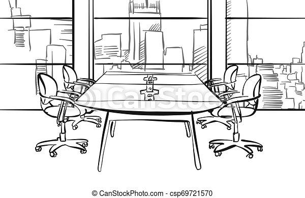 Dibujo de mesa de conferencias modernas - csp69721570