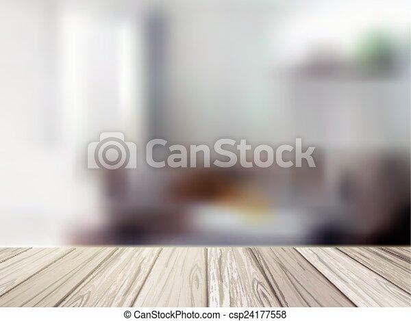 Mesa de madera sobre la escena de la cocina borrosa - csp24177558