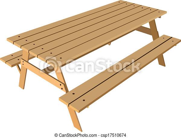 Mesa estándar con bancos - csp17510674