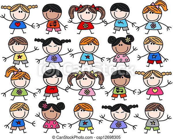 Mezclados niños felices y étnicos - csp12698305