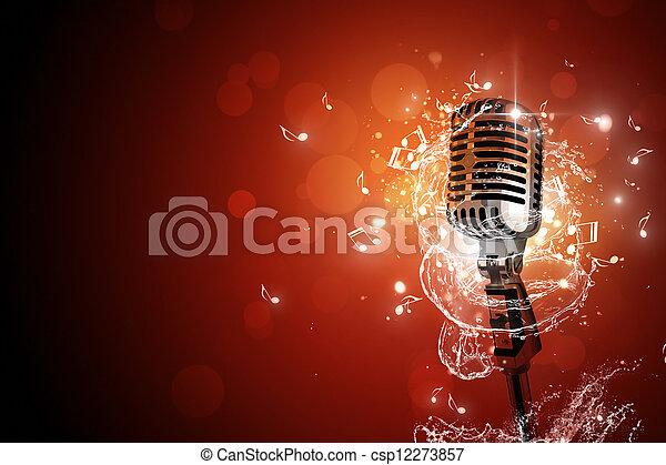 Retro micrófono de fondo musical - csp12273857