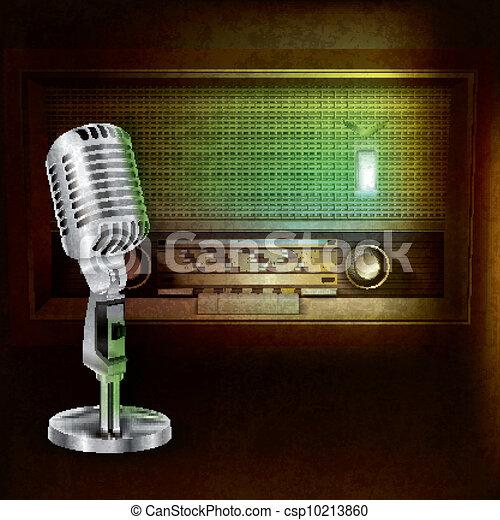 Trasfondo abstracto con radio retro y micrófono - csp10213860