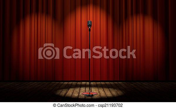 Micrófono tridimensional en el escenario con cortina roja - csp21193702