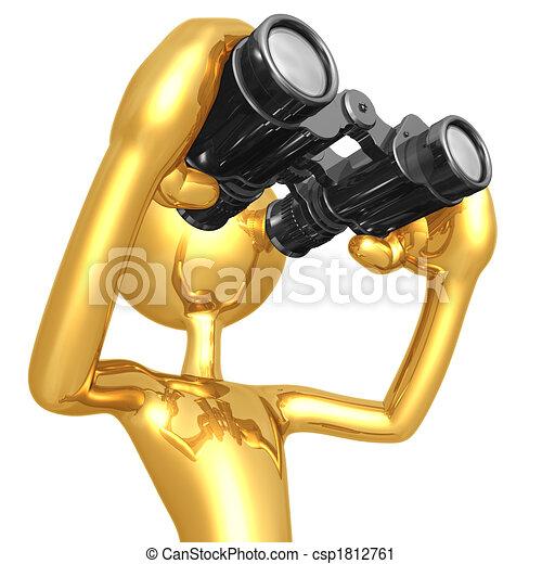 Mirando a través de los prismáticos - csp1812761