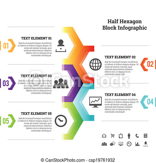 Mitad hexagon block infographic - csp19761932