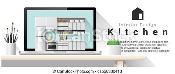 Diseño de interiores moderno de la cocina 1 - csp50380413