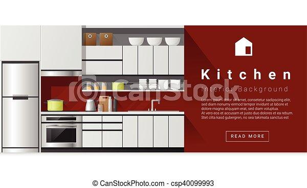 Diseño de interiores fondo de cocina moderna 1 - csp40099993
