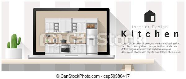 Diseño de interiores moderno de la cocina 2 - csp50380417