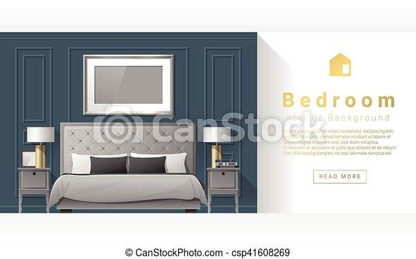 Diseño de interiores dormitorio moderno fondo 3 - csp41608269