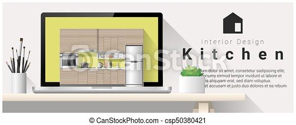 Diseño de interiores moderno de la cocina 3 - csp50380421