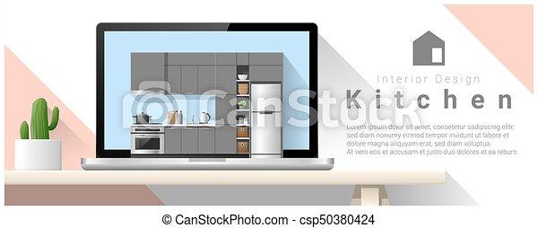 Diseño de interiores moderno de la cocina 4 - csp50380424