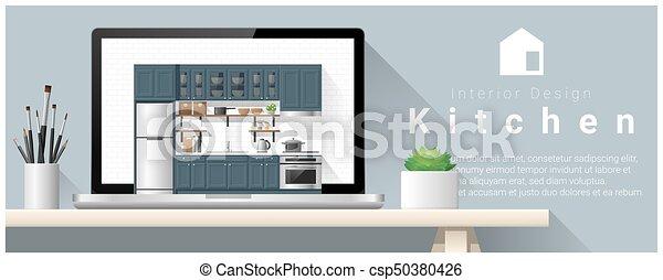 Diseño de interiores moderno de la cocina - csp50380426