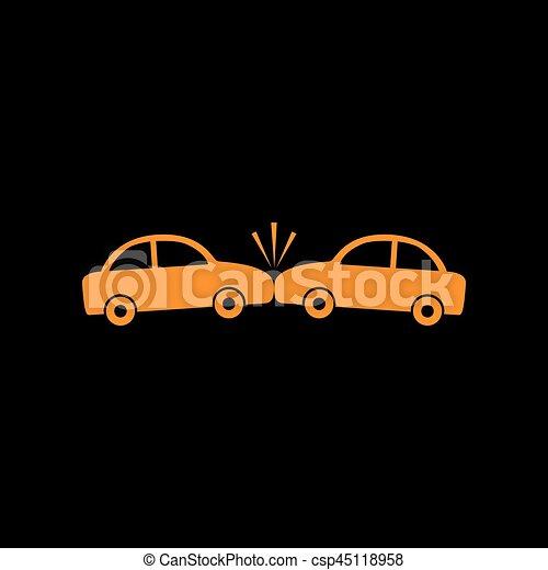 Señal de coches estrellados. icono naranja en fondo negro. Un viejo monitor de fósforo. CRT. - csp45118958