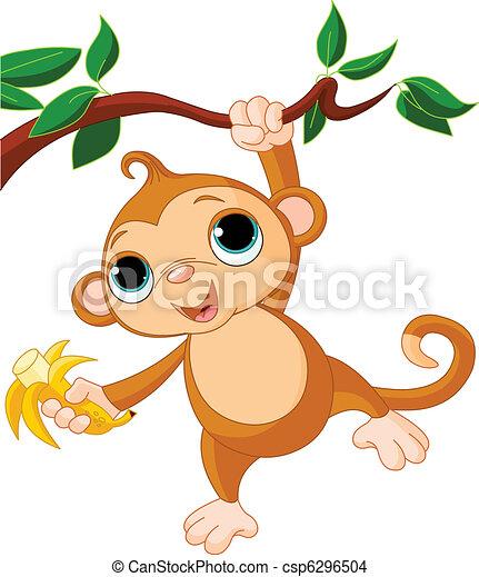 Mono bebé en un árbol - csp6296504