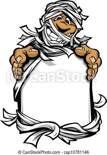 Imagen de vector de cartón de un monstruo de Halloween feliz momia sosteniendo una señal - csp10781146
