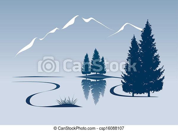 Ilustración estilizada que muestra un río y paisaje de montaña - csp16088107
