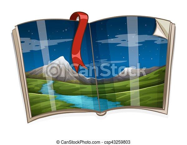 Libro con escena de montaña - csp43259803