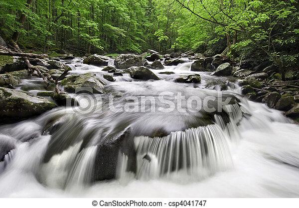 Smoky Mountain Waterfall - csp4041747